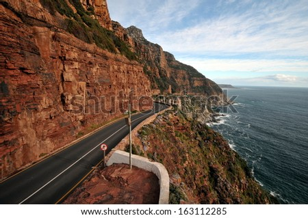 The famous Chapman's peak near Hout bay Cape Town South Africa. - stock photo