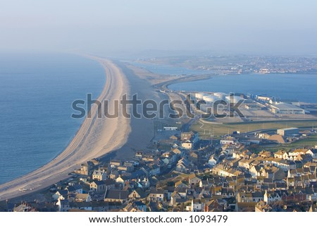The Famous Chesil beach near portland in Weymouth, Dorset, Southern England