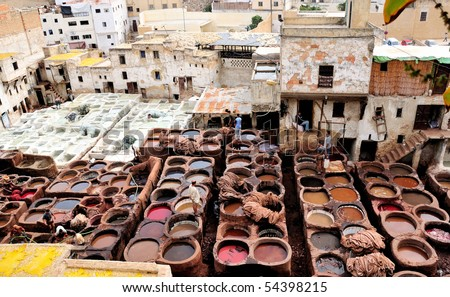 The famous Chouwara Tannery of Fes, Morocco