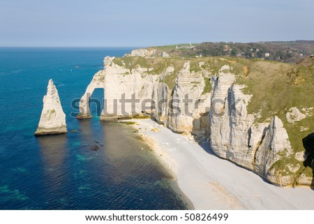 The famous cliffs at Etretat in Normandy, France - stock photo