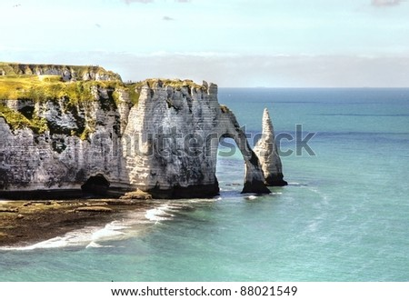 The famous cliffs of Etretat in Normandy france