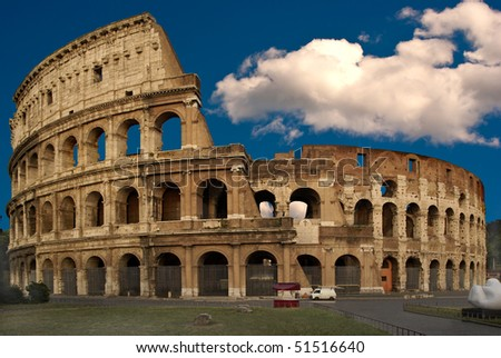 The famous Colosseum in Rome in late afternoon without any tourist - stock photo