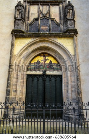 The famous door at the All saint\u0027s Church where Martin Luther posted the ninety-five & Famous Door All Saints Church Where Stock Photo (100% Legal ...