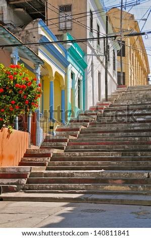 The Famous Escalinata in Santiago de Cuba, Cuba - stock photo