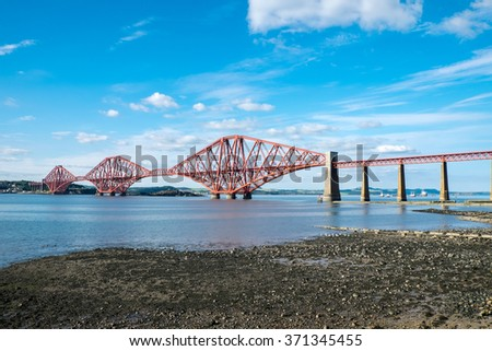 The famous Forth Railway Bridge near Edinburgh in Scotland - stock photo