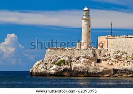 The famous fortress and lighthouse of El Morro in the entrance of Havana bay, Cuba - stock photo
