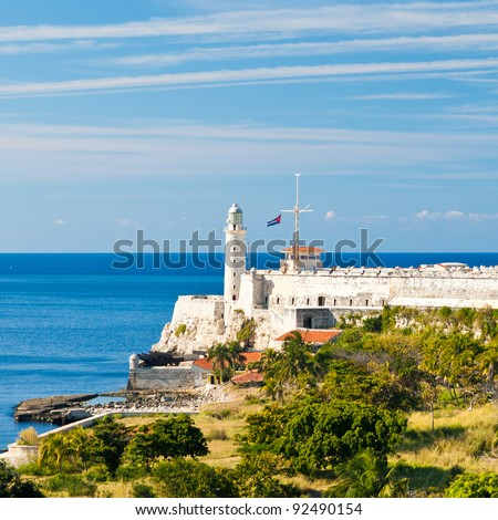 The famous fortress of El Morro in the bay of Havana - stock photo