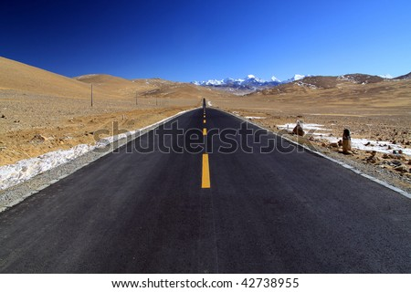The famous Friendship highway between Tibet and Nepal - stock photo