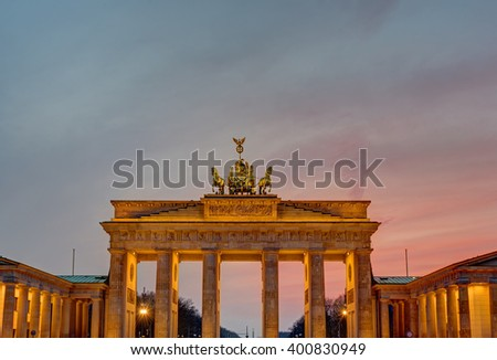 The famous Gate Brandenburg in Berlin after sunset