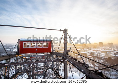 The famous Giant Wheel in Vienna, Austria in winter. One of the most famous landmarks of Vienna. - stock photo