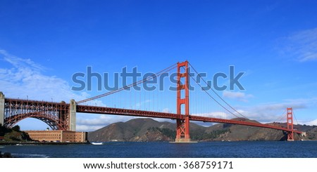The famous Golden Gate Bridge and historic Fort Point on a calm, clear day. - stock photo