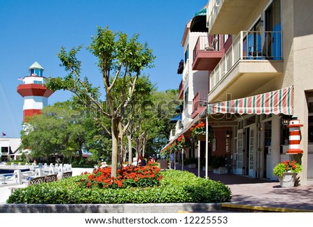 The famous Harbour Town located on Hilton Head Island, South Carolina; USA. - stock photo