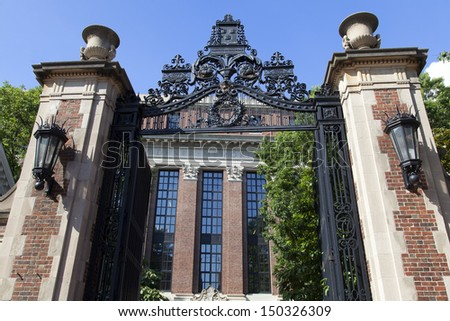 The famous Harvard University in Cambridge, Massachusetts, USA is the oldest institution of Higher learning in the USA established in 1636 by the Massachusetts Legislature.  - stock photo