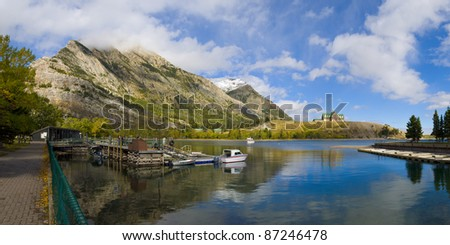 The famous historic Prince of Wales Hotel in waterton lakes national park, alberta, canada - stock photo