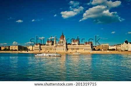 The famous Hungarian Parliament in Hungary - stock photo