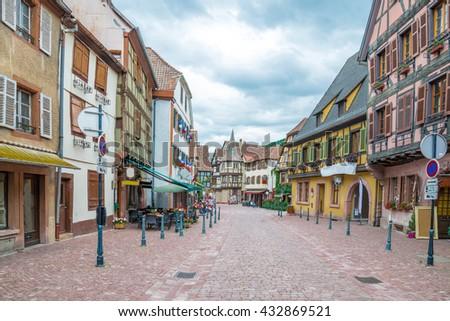The famous idyllic Wine Village of Kaysersberg in Alsace near Colmar,France - stock photo