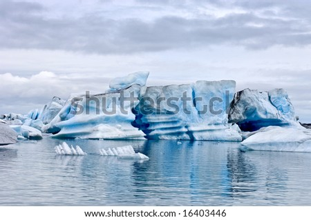 The famous Jokulsarlon glacier lake in Iceland, where the icebergs, originating from the Vatnajokull float. This location was used for various action movies. - stock photo