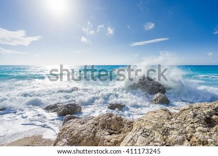 The famous Kathisma beach in Lefkada island Greece - stock photo