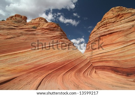 The famous landmark in pastel colors. Geological Feature. Wave. Paria Canyon. Vermillion Cliffs. Utah. USA - stock photo