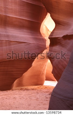 The famous landmark Slot canyon in pastel colors. Geological Feature. Arizona. USA - stock photo