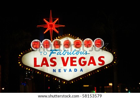 The famous landmark Welcome to Las Vegas neon sign