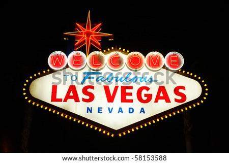 The famous landmark Welcome to Las Vegas neon sign - stock photo