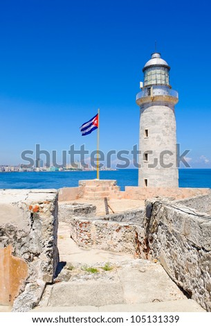 The famous lighthouse of el Morro with a view of the Havana skyline on the background - stock photo