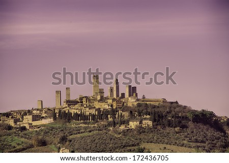 The famous medieval village in the hearth Tuscany - stock photo