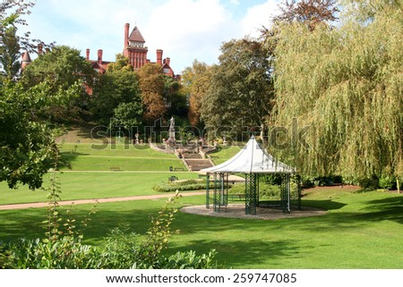 The famous Miller Park in the City of Preston, Lancashire. Taken at the end of September the Lancashire Gazebo is in the middle distance with steps to the statue of Lord Derby in the distance. - stock photo
