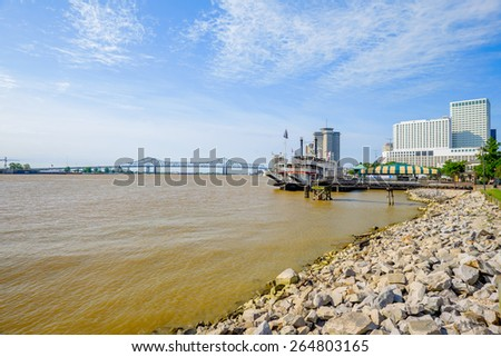 The famous Mississippi River along the French Quarter in New Orleans, Louisiana. - stock photo