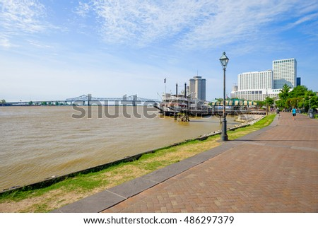 The famous Mississippi River along the French Quarter in New Orleans, Louisiana.