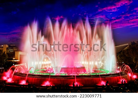 The famous Montjuic Fountain in Barcelona.Spain. - stock photo