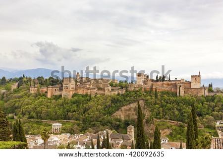 The famous moorish Alhambra palace and fortress at Granada, Spain - stock photo