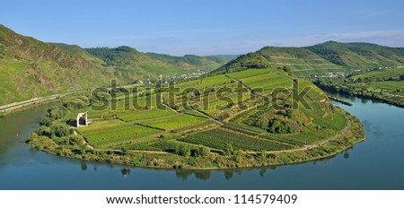 the famous Mosel River Bow,Bremm,Germany - stock photo