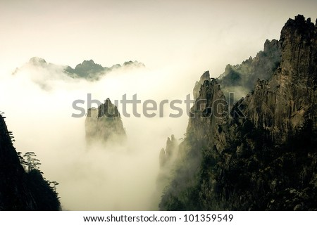 The Famous Mount Huangshan in China - stock photo