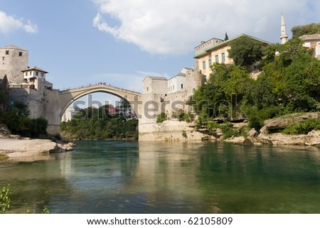 The Famous Old Bridge on the Neretva River in Mostar, Bosnia and Herzegovina - stock photo
