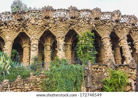 The famous Park Guell in Barcelona, Spain. Stone gallery. - stock photo