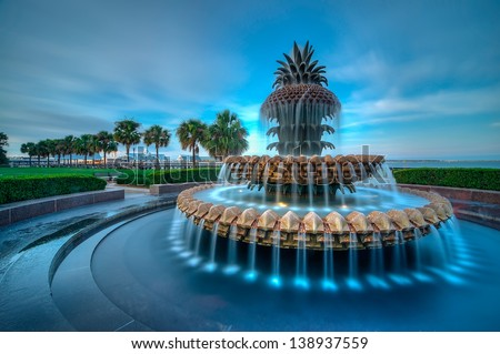 The Famous Pineapple Fountain in Charleston, SC - stock photo
