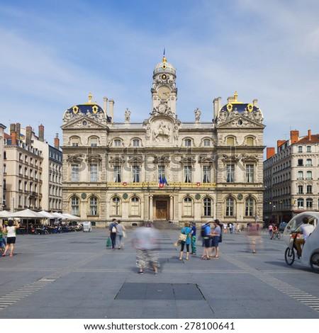 """The famous """"Place des Terreaux"""" in Lyon city - stock photo"""