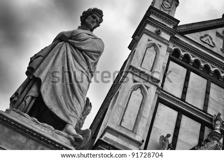 The famous poet Dante Alighieri's statue in Piazza Santa Croce in Florence, Italy