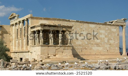 the famous porch of the Caryatids on the side of the Erechtheion at the Acropolis in Athens,Greece
