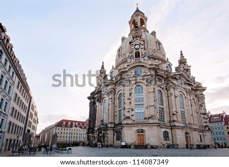 The famous reconstructed Frauenkirche Church (Church Of Our Lady) in Dresden, Germany - stock photo