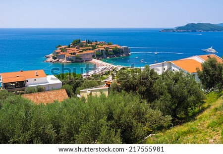 The famous resort of Montenegro, located on the small islet Sveti Stefan, nowadays is connected to the mainland by the  isthmus. - stock photo