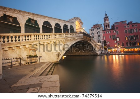 The Famous Rialto bridge (Ponte di Rialto) in Venice, Italy - stock photo