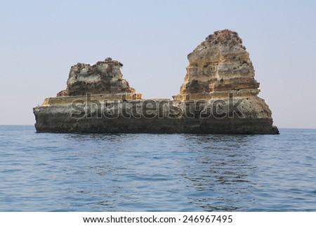 The famous rocks at the coast of Lagos in the Algarve, Portugal