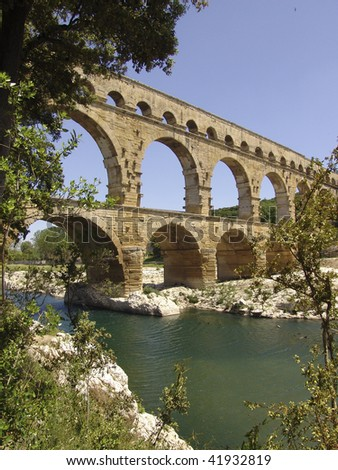 The famous Roman aqueduct located in the south of France, Europe
