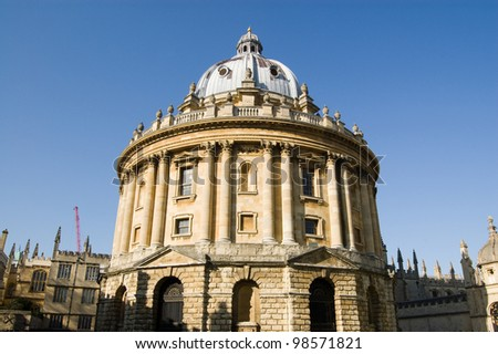 The famous round Radcliffe Camera, part of Oxford University. Home to the science library.