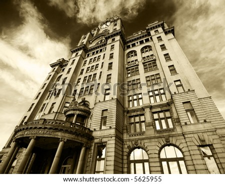 The famous Royal Liver building in sepia tone, Liverpool - stock photo
