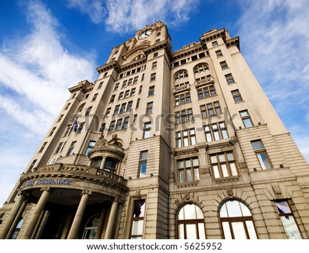 The famous Royal Liver building, Liverpool - stock photo