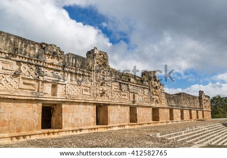 The famous ruins of Uxmal in central Mexico in a cloudy day. - stock photo